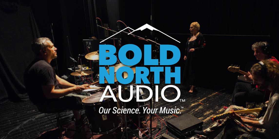 Studio Musicians playing music behind Bold North Audio logo